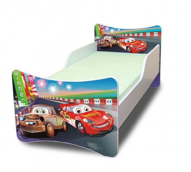 Dětská postel se zábranou Auta 2. - 180x80 cm