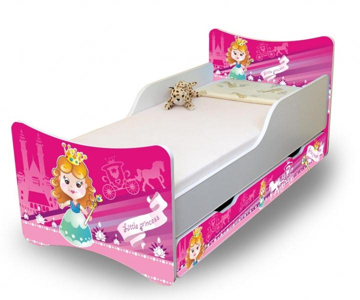 NELLYS Dětská postel se zábranou a šuplík/y Malá princezna -160x70 cm