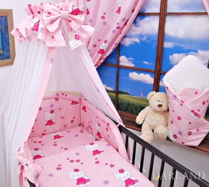 Mantinel + povlečení + nebesa Š - Kočičky v růžové