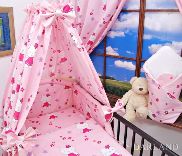 Mantinel + povlečení + nebesa CL - Kočičky v růžové