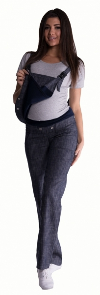 Těhotenské kalhoty s láclem - granátový melírek