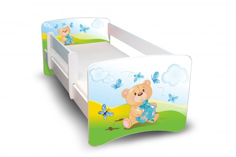 NELLYS Dětská postel s bariérkou Filip - Medvídek s dárečkem II. - 160x90 cm