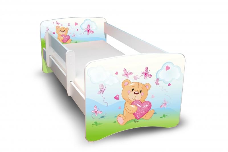 NELLYS Dětská postel s bariérkou Filip - Medvídek se srdíčkem II.
