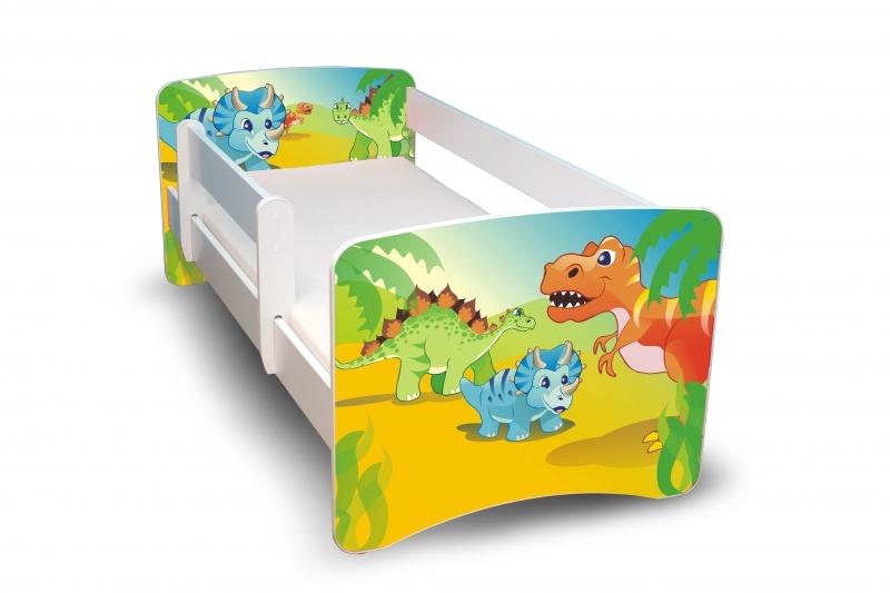 NELLYS Dětská postel s bariérkou Filip - Dino, II. - 160x80 cm