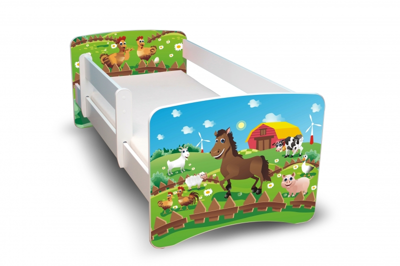 NELLYS Dětská postel s bariérkou Filip - Farma, II. - 160x80 cm