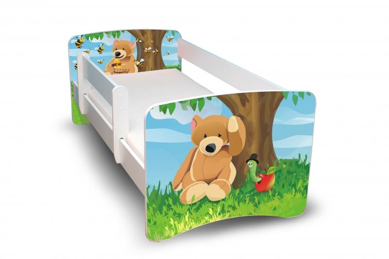 NELLYS Dětská postel s bariérkou Filip - Medvídek II. - 160x80 cm