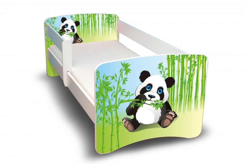 NELLYS Dětská postel s bariérkou Filip - Panda II. - 160x90 cm