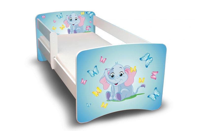NELLYS Dětská postel s bariérkou Filip - Sloník II. - 160x90 cm