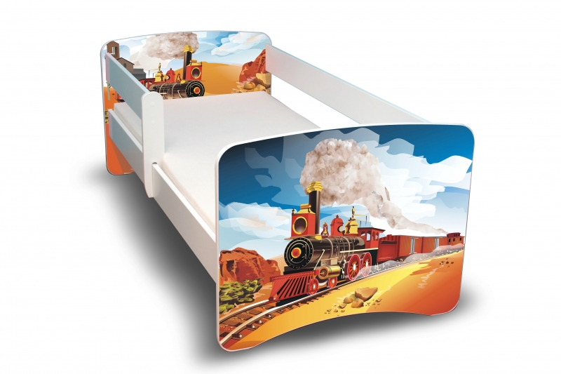 NELLYS Dětská postel s bariérkou Filip - Vlak II. - 160x80 cm