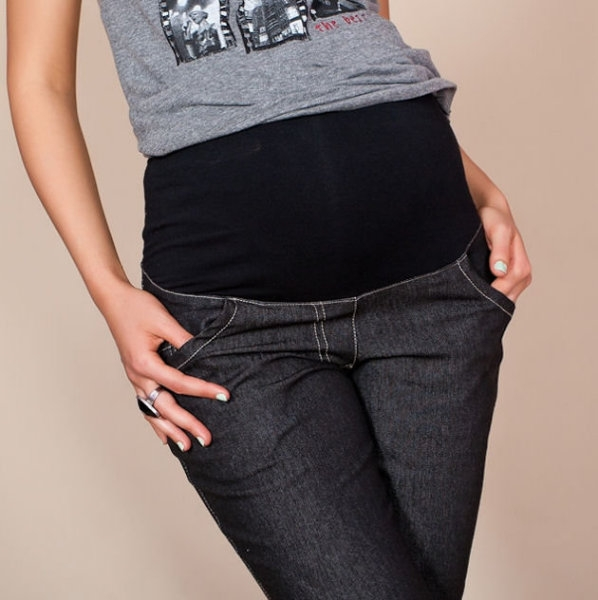 Be MaaMaa Těhotenské kalhoty JEANS - Černý jeans