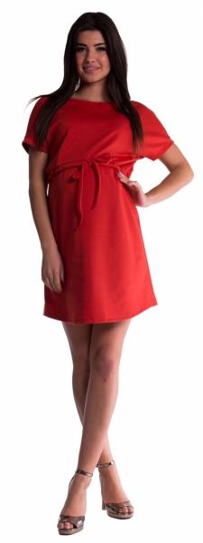 Be MaaMaa Těhotenské šaty s vázáním - cihlové, Velikost: M (38)