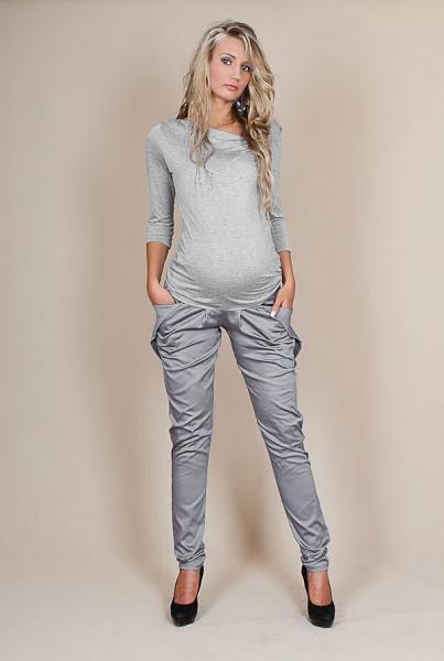 Těhotenské kalhoty ALADINKY  - Šedý popílek - L