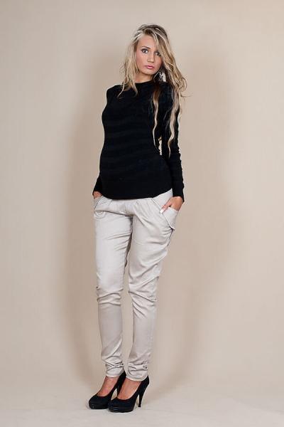 Be MaaMaa Těhotenské kalhoty ALADINKY  - Béžové, Velikost: S (36)