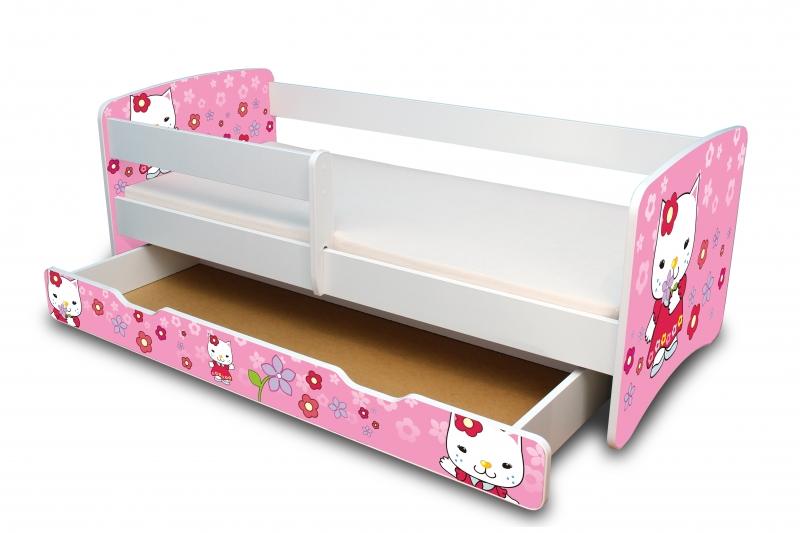 NELLYS Dětská postel s bariérkou a šuplíkem Filip - Kočička II.  - 160x90 cm