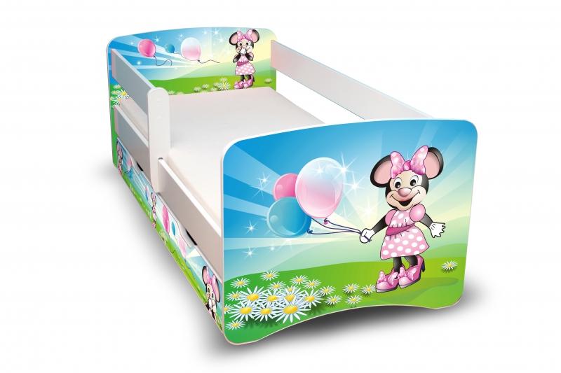 Dětská postel s bariérkou a šuplíkem Filip - Myška s balónkem II. - 160x80 cm