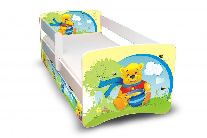 NELLYS Dětská postel s bariérkou a šuplíkem Filip - Medvídek s medem II. - 160x80 cm