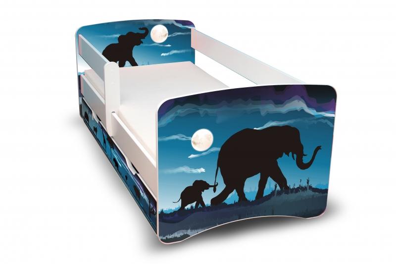 NELLYS Dětská postel s bariérkou a šuplíkem Filip - Afrika II. - 160x90 cm