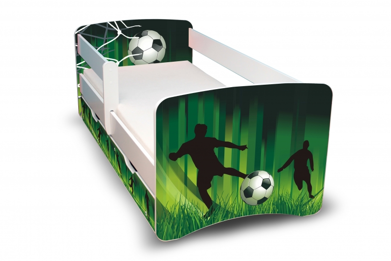 NELLYS Dětská postel s bariérkou a šuplíkem Filip - Fotbal II. - 160x90 cm