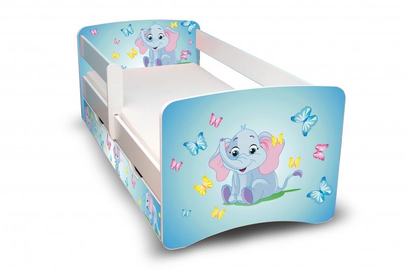 NELLYS Dětská postel s bariérkou a šuplíkem Filip - Sloník II. - 160x80 cm