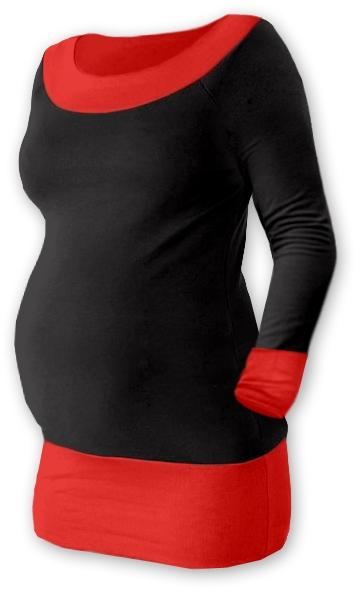 Těhotenska tunika DUO - černá/červená, Velikost: S/M