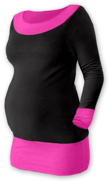 Těhotenska tunika DUO - černá/růžová, Velikost: L/XL
