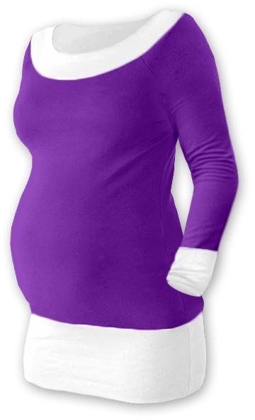 Těhotenska tunika DUO - fialová/bílá