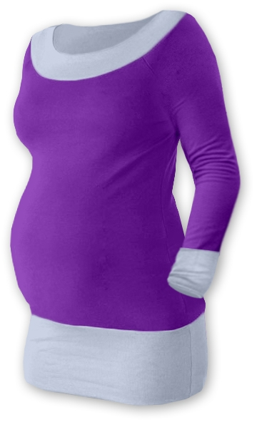 Těhotenska tunika DUO - fialová/šedá