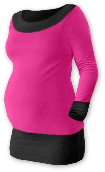 Těhotenska tunika DUO - růžová/černá , vel. L/XL, Velikost: L/XL