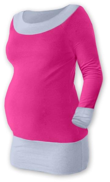 Těhotenska tunika DUO - růžová/šedá, vel. L/XL, Velikost: L/XL