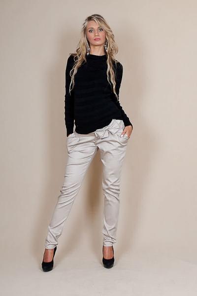 Be MaaMaa Těhotenské kalhoty s mašlí  - Béžové