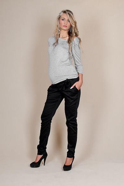 Be MaaMaa Těhotenské kalhoty s mašlí  - Černé