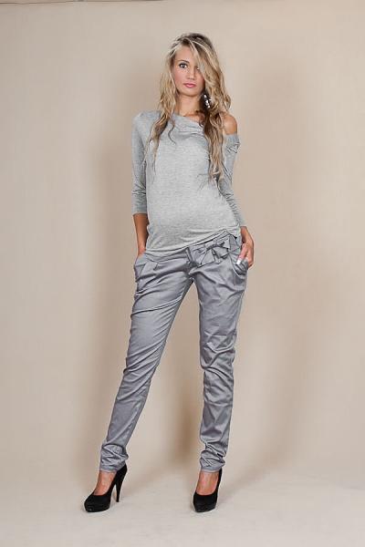 Be MaaMaa Těhotenské kalhoty s mašlí  - Šedý popílek, Velikost: L (40)