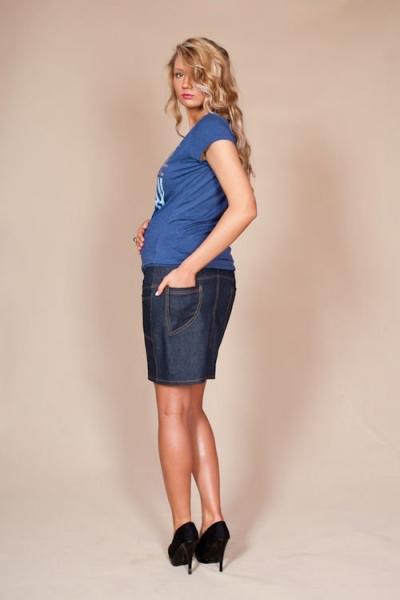 Be MaaMaa Těhotenské sukně JEANS s kapsami - granátová