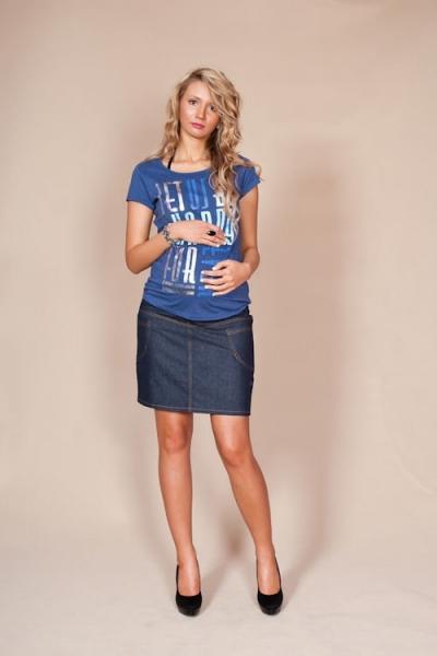 Be MaaMaa Těhotenské sukně JEANS s kapsami - granátová, vel. XXL, Velikost: XXL (44)