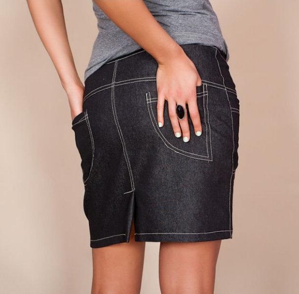Be MaaMaa Těhotenské sukně JEANS s kapsami - černá