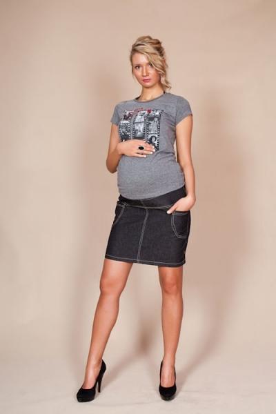 Těhotenské sukně JEANS s kapsami - černá, Velikost: XXL