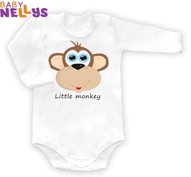 Body dl. rukáv vel. 74, Little Monkey - bílé, Velikost: 74 (6-9m)