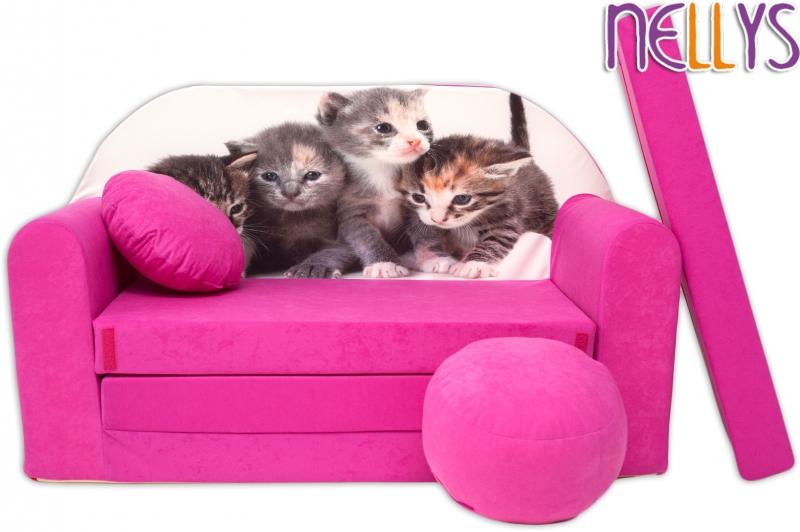 NELLYS Rozkládací dětská pohovka 35R - Kočičky v růžové