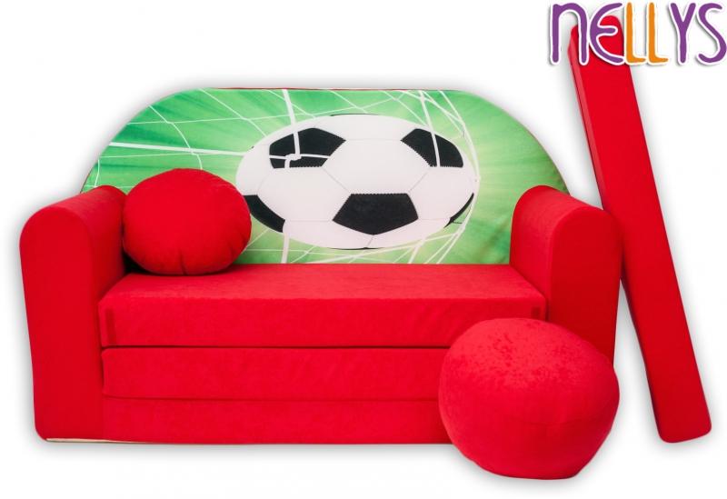 NELLYS Rozkládací dětská pohovka 36R - Fotbal v červené