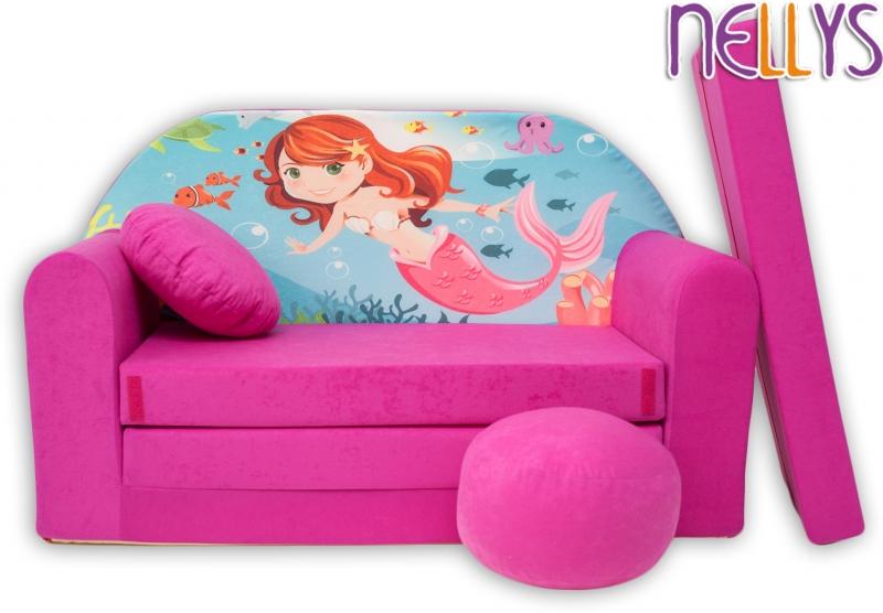 NELLYS Rozkládací dětská pohovka 37R - Mořská víla v růžové