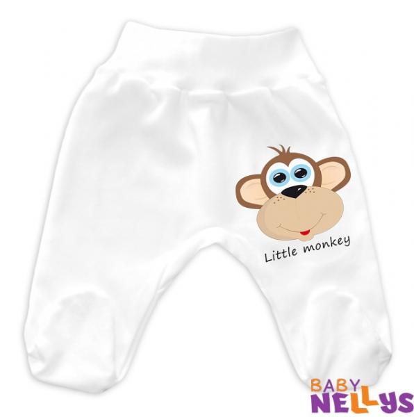 Baby Nellys Bavlněné polodupačky Little Monkey - bílá