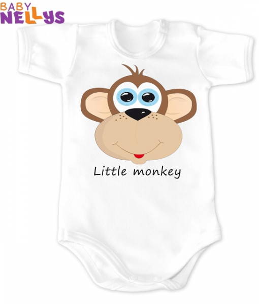 Body kr. rukáv vel. 74, Little Monkey, bílá, Velikost: 74 (6-9m)