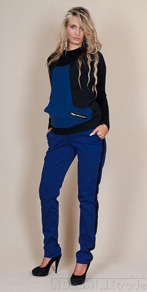 Be MaaMaa Těhotenské kalhoty Karolina - Modrével. XS (32-34)