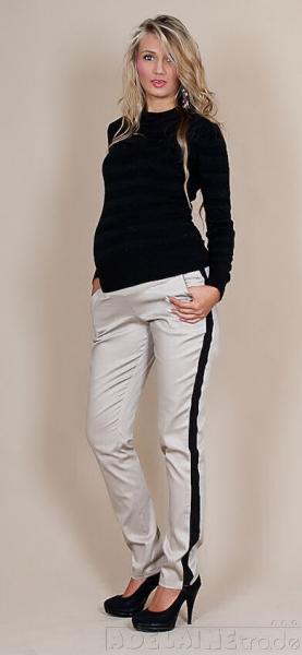 Be MaaMaa Těhotenské kalhoty Karolina - béžovével. XS (32-34)