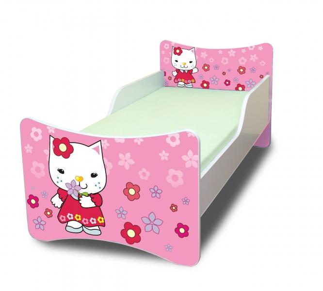 Dětská postel se zábranou Kočička s kytičkou - 180x80 cm