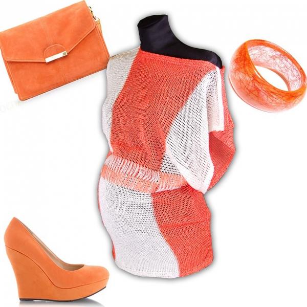 Be MaaMaa Těhotenský svetřík, lehké kimono Nela - orange