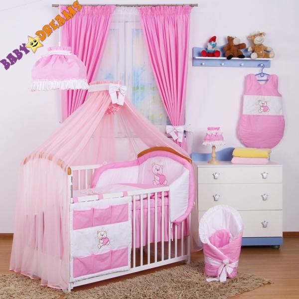 Luxusní mega set s moskytierou z šifonu - Míša Nellys srdíčko, růžový