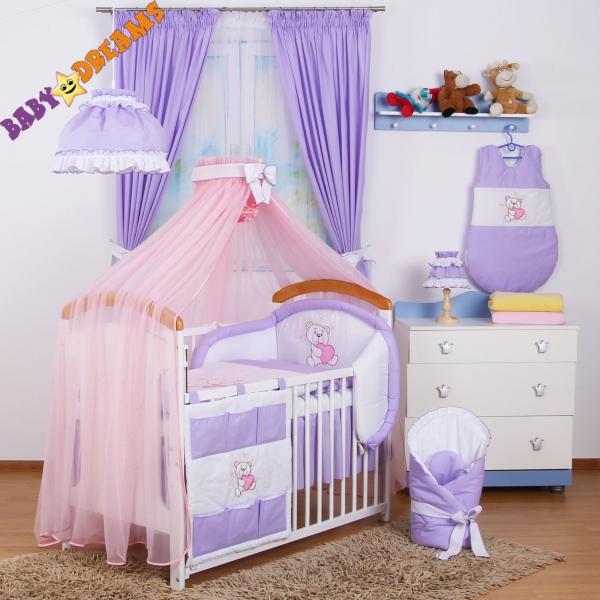 Luxusní mega set s růžovou moskytierou z šifonu - Míša Nellys srdíčko, fialový