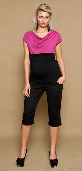 Be MaaMaa Těhotenské kalhoty ANNA  3/4  - černé, vel. XL