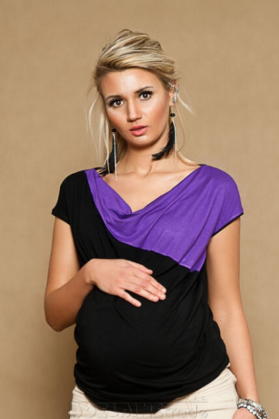 Těhotenské triko/halenka ELISSA - černá/fialová